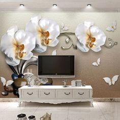 11.86$ Watch now - http://ali0e9.shopchina.info/go.php?t=32805663683 - High Quality 3D Stereo Golden Jewelry Butterfly Orchid Luxury Wallpaper Hotel Living Room TV Backdrop Wall Decor Flower 3D Mural #buyonline