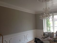 Revere Pewter wall with wainscoting (and crystal chandelier & crown moulding)