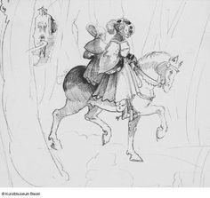 Artist: Graf, Urs, Title: Krieger mit Frau zu Pferd, Date: ca. 1521-1523