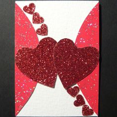 ACEO Original Collage of Red Glitter Hearts by KeleverArt on Etsy, £3.00