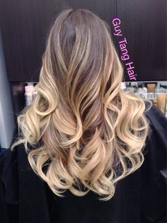 Amazing color fade from natural medium brown to champagne blonde and light caramel