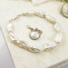 White pearl bracelet datachable charm bracelet by MadeBySunflower, $80.00