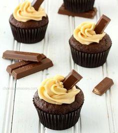 Kit Kat Cupcakes with Caramel Buttercream Frosting