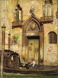 William Logsdail - A Water Doorway, Venice, oil on...
