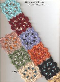 Floral Fiesta Afghan designed by Maggie Weldon .... Just starting out - the first few motifs. (a free pattern)