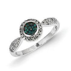14k White Gold w/ Blue and White Diamond Circle Ring  Sku: QGY10743AA  $$624.99