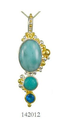 Larimar, Amazonite and Teal Topaz - Cascade Collection pendant