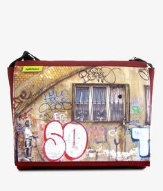 Apfelsina Schoulder Bag So What.  This handmade Bag shows a street art painting in Berlin.   Now available at our online store.  http://www.apfelsina.de