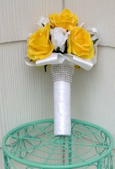 Yellow White Bouquet Yellow White Wedding by SilkFlowersByJean, $75.00