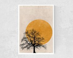 Tree Silhouette Sun Print Nature Art Print Nordic Minimalist | Etsy Simple Prints, Simple Art, Orange Wall Art, Summer Painting, Tree Silhouette, Minimalist Art, Abstract Wall Art, Boho, Flower Wall