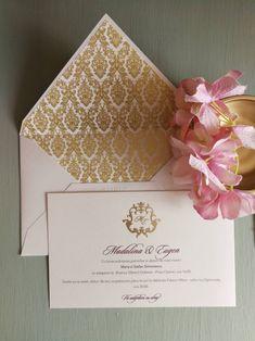 Invitatie nunta cu monograma aurie Nasa, Baroque, Tableware, Wedding, Valentines Day Weddings, Dinnerware, Tablewares, Weddings, Dishes