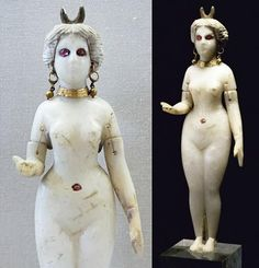 The beauty and terror of the greatest of Sumerian goddesses comes through in this ancient statue. Inanna/Ishtar was at once lovely and terrible, seducing many great men and then killing them. Her unearthly white skin and glowing red eyes warn those who might answer her as she beckons with her right hand.