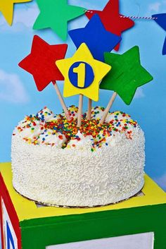 Fun cake at a Caillou birthday party! See more party ideas at CatchMyParty.com!
