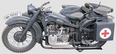 German WW2 BMW R12 motorcycle with sidecar