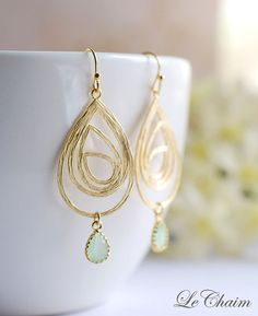 Gold Swirl Drop Pendant Mint Glass Drop Earrings. Sister Mother Gift, Wedding Bridal Earrings, Bridesmaids Gift, Modern Everyday Jewelry