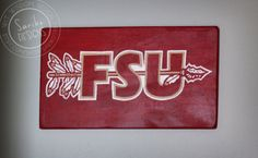 Hand Painted Sign // 'FSU' on Reclaimed Wood // by Sariko Designs on Etsy