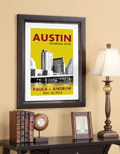 Wedding Poster 20x30 - Austin Skyline - Choose your city image and color - Style E on Etsy, $85.00