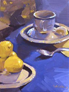"#art original oil #painting still life ""Purple Tea"" 8 x 6 inches, by Sarah Sedwick"