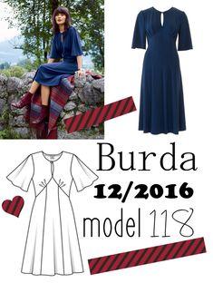 Sukienka uszyta z wykroju Burda model 118 Burda Patterns, Sewing Patterns, Burda Couture, Dresses With Sleeves, Stitch, Clothes For Women, Retro, Long Sleeve, Blog