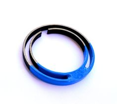 Wooden bracelet blue enamel paint laser cut round by PROPSfashion, €37.00