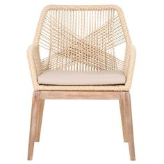 """SAND ROPE, LIGHT GRAY FABRIC, STONE WASH MAHOGANY, 45/55 POLYESTER/LINEN, ALUMINUM Collection: Wicker Dimensions: W:24.5"""" D:26"""" H:33.5"""" Weight: 17lbs FEATURES & BENEFITS Removable Upholstered Seat CushionIntricate Rope Weave DesignSolid Mahogany Legs ADDITIONAL DIMENSIONS Seat height: 17""""Seat width: 19""""Seat depth:"""
