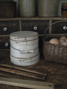 Early Small Wooden Farmhouse Firkin, Original Oyster White Paint, New England