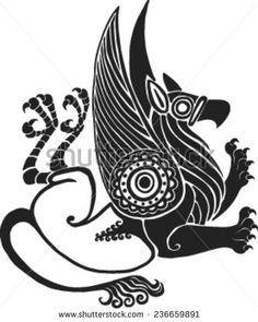 running twisted a griffin in style of Scythian tattoos - stock vector