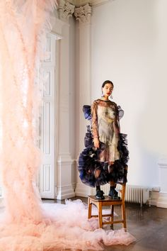 With Stitchless Garments Designer Katie Roberts-Wood Links Femininity to Strength - Vogue Fashion News, Runway Fashion, Fashion Show, Katie Roberts, Feminine Symbols, Robert Wood, Fallen London, Made Clothing, Pattern Mixing