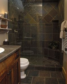 gorgeous slate tile shower for a small bathroom. I absolutely love it!  I'm considering having the master bath remodeled love this look