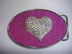 Beaded Belt buckle Womens Valentine's Day Heart by MnMTreasures