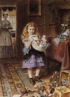 George Goodwin Kilburne (English, 1839-1924), 'Collecting Toys', watercolor, 1872. Private collection (via The Athenaeum).