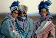 Soft purples + blues + pinks + silver. + turbans Kenzo 1985 Campaign, Photography Peter Lindbergh.