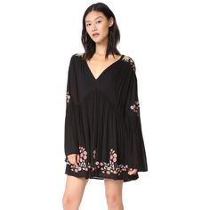 Free People Te Amo Mini Dress (€62) ❤ liked on Polyvore featuring dresses, black combo, long-sleeve mini dresses, flower embroidered dress, long bell sleeve dress, embroidered dress and boho mini dress