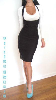 Black Underbust Fitted High Waist Halter Pencil Knee Pinup Wiggle Skirt Dress L | eBay