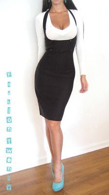 Black Underbust Fitted High Waist Halter Pencil Knee Pinup Wiggle Skirt Dress M | eBay
