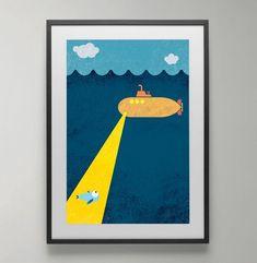 Yellow submarine Submarine Under Water Sea Ocean print Art Fantaisiste, Art Mural, Painting For Kids, Art For Kids, Preschool Decor, Water Poster, Kids Poster, Yellow Submarine, Sea And Ocean