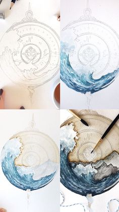 Creative Drawing First set of process photos for the ocean themed compass Painting & Drawing, Watercolor Paintings, Watercolour, Ocean Drawing, Watercolor Ocean, Watercolor Trees, Watercolor Artists, Tattoo Watercolor, Watercolor Portraits