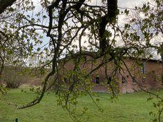 """Blick auf eines von zwei Nebengebäuden, hier der nördliche Bau mit Giebelbeschriftung """"R.W. 1922"""""""