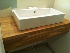 """24"""" Ikea Lillangen sink (16"""" deep) on an 18"""" deep butcherblock floating shelf with a 5"""" apron."""