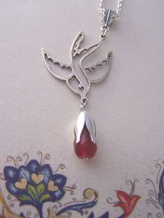 Silver Swallow necklace with ruby drop, Rockabilly jewelry , Ruby jewelry