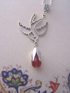 Silver Swallow necklace with ruby drop, Rockabilly jewelry , Ruby jewelry