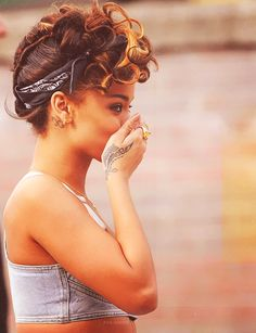 This updo with the bandana would be fierce with natural hair.