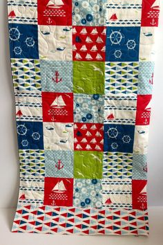 Baby Quilt, Modern, Nautical, Organic, Modern, Birch Fabric, Set Sail, Red, Blue, Green, White, Crib Bedding, Nursery Quilt