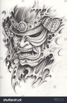Samurai warrior tattoo design.Hand pencil drawing on paper. #sleevetattoos Samurai Maske Tattoo, Hannya Samurai, Samurai Warrior Tattoo, Warrior Tattoos, Samurai Tattoo Sleeve, Warrior Tattoo Sleeve, Mascara Samurai Tattoo, Mascara Hannya, Tattoo Mascara