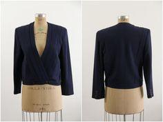 Vintage Navy Blazer  Fully Lined  Wool  Vintage by VeraVague, $40.00