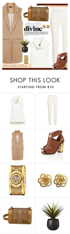 """""""Camel & White"""" by aidasusisilva ❤ liked on Polyvore featuring White House Black Market, Roland Mouret, Topshop, Gucci, Chanel and CB2"""