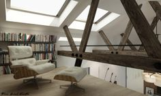 Bungalow Sydney, Loreta Homes Pysely 2014. Gallery nook with Eames chair and exposed roof beams.