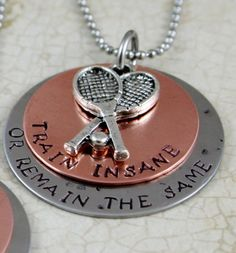"Personalized Tennis Necklace Name necklace   ""Train Insane or Remain the Same"" Tennis Jewelry Sports Training Necklace Handstamped Necklace on Etsy, $32.00"
