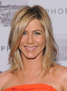 "Jennifer Aniston's layered ""lob"" (long bob) is a great way to update a drab, single length cut. Love this haircut"