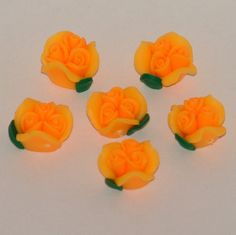 Orange Polymer Clay Rose Flower Beads 12mm - pinned by pin4etsy.com